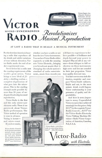 1925 vintage RCA Victor Micro Synchronous Radio print ad