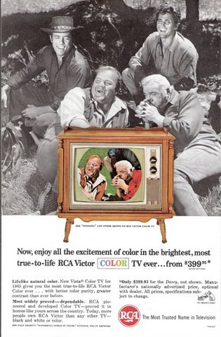 1965 RCA Victor Color TV BONANZA series actors print ad