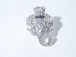 Cat Feline Clear Crystals Silver Plated Fashion Stretch Ring Jewelry [Misc.] - $12.86