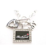 Husband I Love Heart My Silver Toggle Necklace Crystal Black Rectangle Jewelry - $12.86