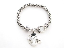Snowman Black White Crystal Silver Chain Bracelet Christmas Jewelry Holiday - $12.86