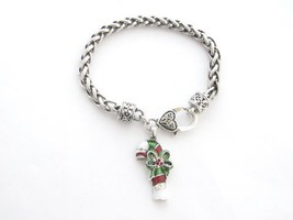 Candy Cane Red White Crystal Silver Chain Bracelet Christmas Jewelry Hol... - $12.86