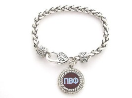 Pi Beta Phi Sorority Crystal Circle Silver Chain Bracelet Jewelry Little... - $12.86