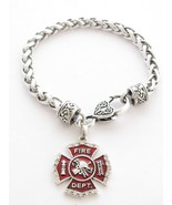 Firefighter Fireman Shield Clear Crystal Red Lobster Claw Bracelet Jewelry - $12.36