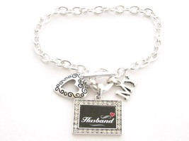 Husband I Love Heart My Crystal Rectangle Silver Toggle Bracelet Jewelry - $12.86