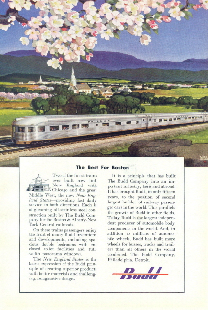 1950 Budd Train Railroad Railway countryside print ad