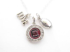South Carolina Gamecocks Multi Charm Love Football Red Silver Necklace Jewelr... - $12.86