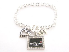 Daughter I Love Heart My Crystal Rectangle Silver Toggle Bracelet Jewelry - $12.86