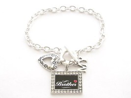 Brother I Love Heart My Crystal Rectangle Silver Toggle Bracelet Jewelry - $12.86