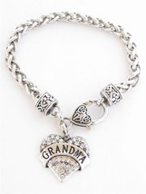 Grandma Clear Crystals Fashion Lobster Claw Heart Bracelet Jewelry [Jewe... - $11.75