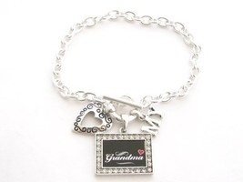 Grandma I Love Heart My Crystal Rectangle Silver Toggle Bracelet Jewelry - $12.86
