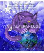 Adorable Moon Kitty Cat on Magic Orb - Sailor Moon Luna Kitten LE Print ... - $12.99