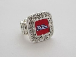 Mississippi Ole Miss Rebels Red White Square Crystal Stretch Ring Jewelery - $12.86
