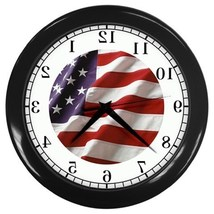 American Flag Backwards Decorative Wall Clock (Black) Gift model 35664699 - $18.18