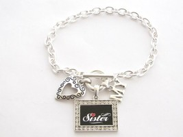 Sister I Love Heart My Crystal Rectangle Silver Toggle Bracelet Jewelry - $12.86
