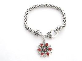 Poinsettia Red Green Crystal Silver Chain Bracelet Christmas Jewelry Hol... - $12.86