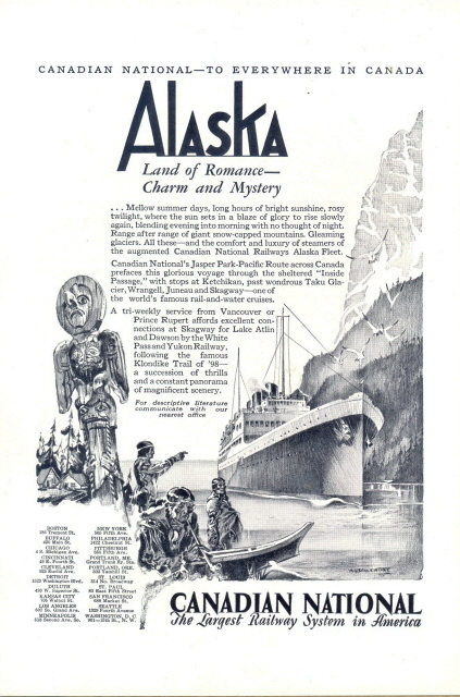 1928 Canadian National Railway System Alaska Cruise print ad