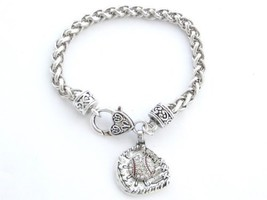 Baseball Glove and Ball Clear Crystal Silver Chain Bracelet [Jewelry] - $12.86