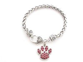 Red Paw Print Crystal Fashion Silver Plated Bracelet Lobster Claw Clasp ... - $12.86
