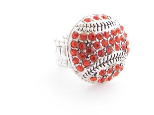 Baseball Orange Crystals Silver Stitching Fashion Stretch Ring Sports Jewelry - $12.86