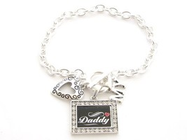 Daddy I Love Heart My Crystal Rectangle Silver Toggle Bracelet Jewelry [... - $12.86