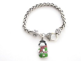 Snowman Red Green White Enamel Silver Chain Bracelet Jewelry Christmas H... - $12.86
