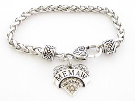 Memaw Clear Crystal Heart Silver Lobster Claw Bracelet Jewelry Family Gift - $12.86
