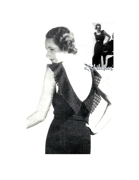 1930s Backless Ruffle Evening Gownwedding And 50 Similar Items