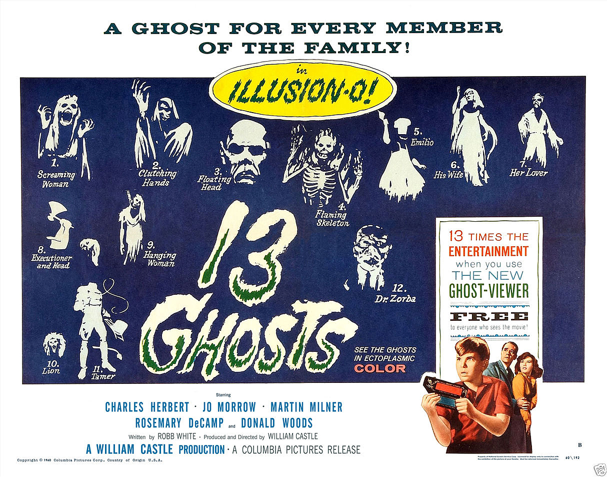 13 GHOSTS POSTER 11x14 LOBBY CARD WILLIAM CASTLE ILLUSION-O THIRTEEN VIEWER RARE