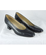 LADIES IMPORTED ETIENNE AIGNER Black Leather CASUAL WORK PUMPS rounded t... - $28.70
