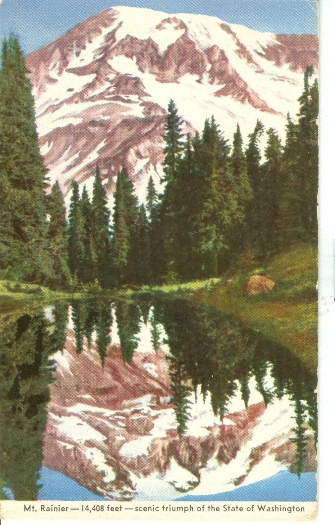 Mt. Rainier, scenic triumph of the State of Washington, unused Postcard