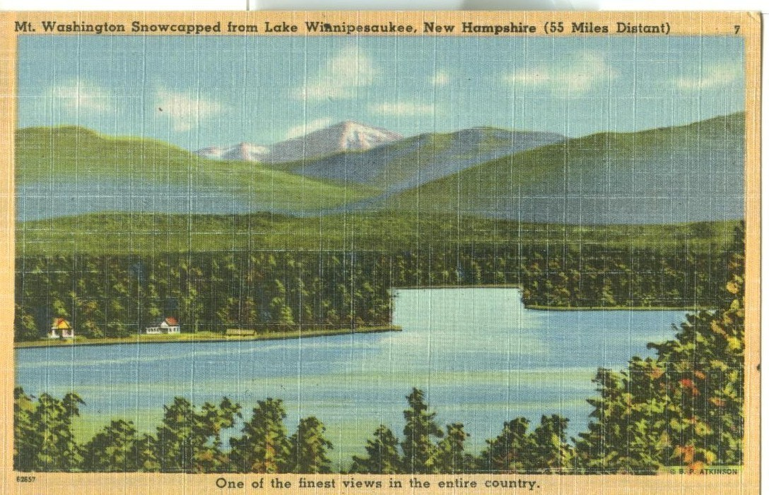 Mt. Washington Snowcapped from lake Winnipesaukee, New Hampshire, linen Postcard