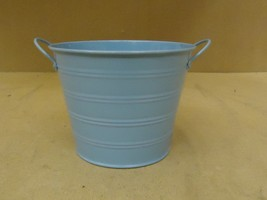 Designer Bucket Decorative 7in Diameter x 5 1/2in H Blue Country Metal - $14.28