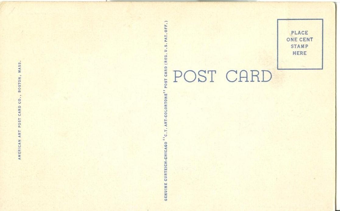 Myles Standish Monument, Duxbury, Massachusetts, unused linen Postcard