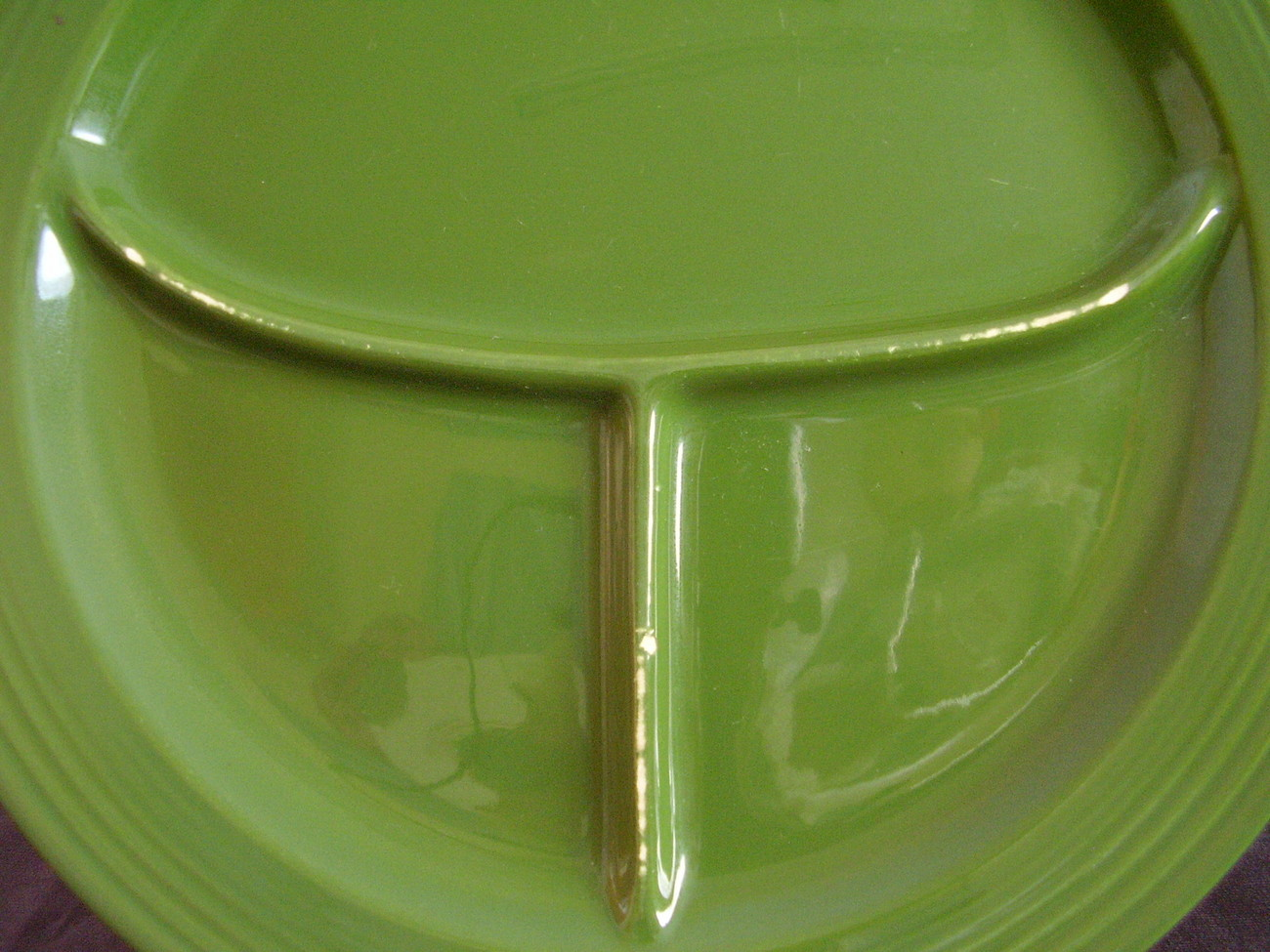 Vintage Fiestaware Forest Green Compartment Grill Plate