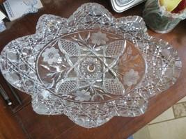 Crystal American Brilliant Cut Art Glass Leaded Oval Bowl Abp Harvard Floral - $100.00