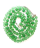 Vintage Peking Glass  Green Vitrail  Crystal Bead 2 Strand Long Necklace  - $35.00