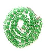 Vintage Peking Glass  Green Vitrail  Crystal Bead 2 Strand Long Necklace  - $35.00