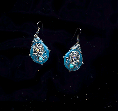 Primary image for Turquoise Colored Enameled Pierced Earrings With A Tiny Ab Crystal.