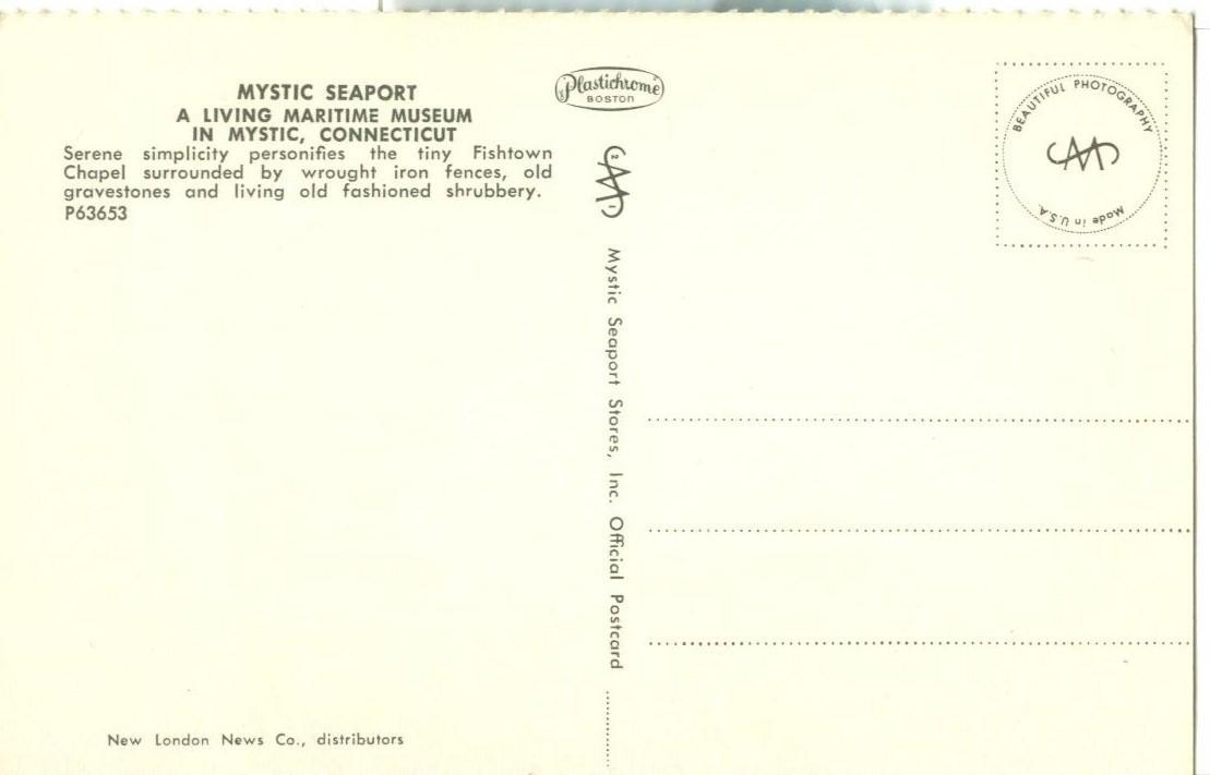 Mystic Seaport, Connecticut, unused Postcard