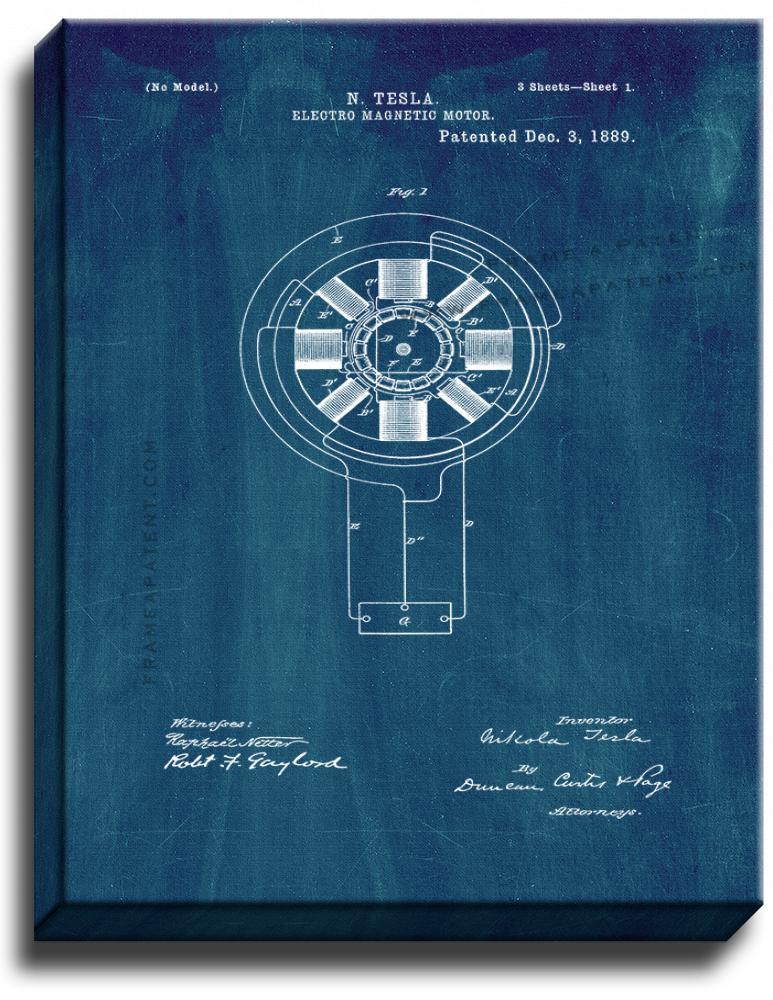 Primary image for Electro-magnetic Motor Patent Print Midnight Blue on Canvas