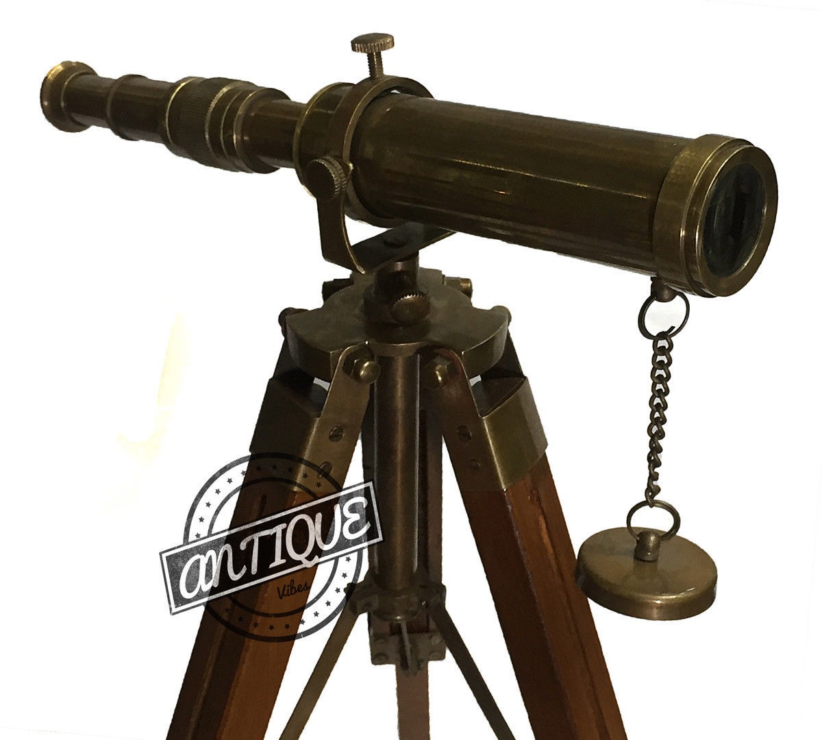 Primary image for Antique Brass Telescope and Tripod Stand Spy Glass Marine Wooden Telescope Decor