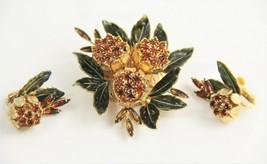 ESTATE VINTAGE Jewelry RARE SIGNED VENDOME CHRYSANTHEMUM SET BROOCH EARR... - $250.00
