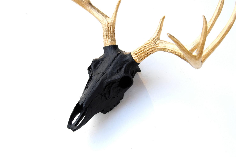 Faux Taxidermy - Black Deer Skull - Gold Antlers - Wall Mount BS1708