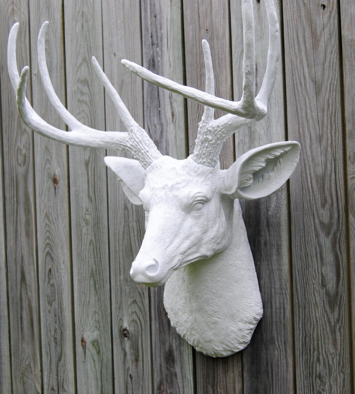 white faux deer head deer head antlers fake taxidermy wall mount d0101 wall sculptures. Black Bedroom Furniture Sets. Home Design Ideas