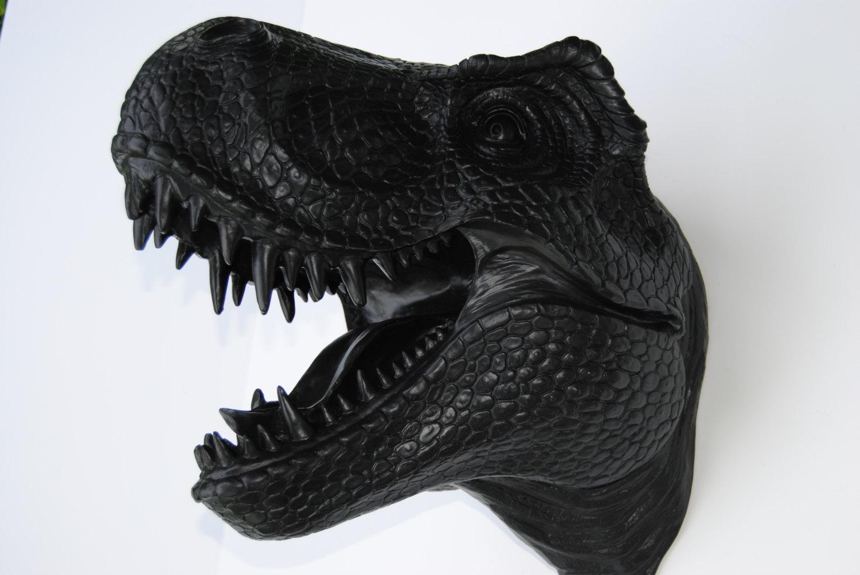 Black T-Rex Dinosaur Head Wall Mount - Dinosaur Faux Taxidermy TX17