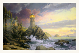 "Thomas Kinkade ""Rock of Salvation"" 2001 - S/N Lithograph - Retail $1K - COA - $600.00"