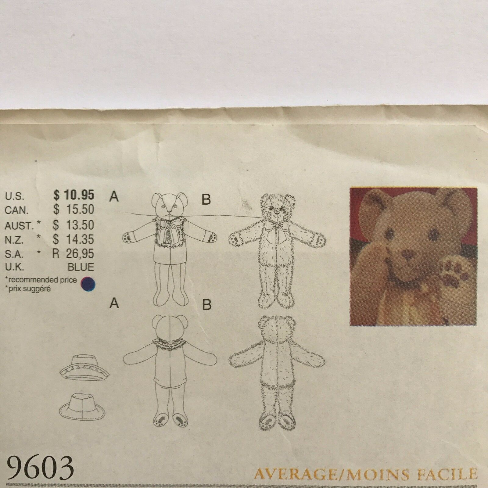 Vogue Craft Pattern 9603 Vogue Bear Collection Linda Carr Mr and Mrs Bear Uncut