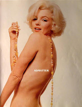 Marilyn Monroe Vintage 2-Sided 9X12 Pin-up Poster Wearing only Beads/ Necklace! - $11.87