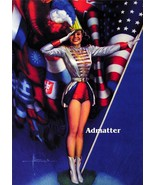 Patriotic Pin-up Girl Print Rolf Armstrong American Flag photo - $8.79